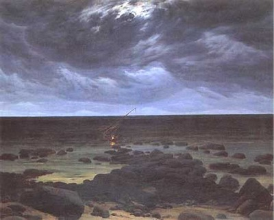 Meereskuste bei Mondschein