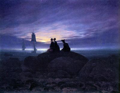 Friedrich Caspar David Moonrise over the sea Sun