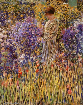 Frieseke Frederick Lady in a garden Sun