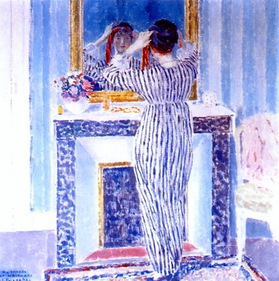frieseke blue interior, giverny the red ribbon c1912
