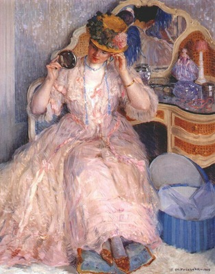 frieseke lady trying on a hat