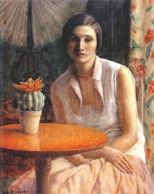 frieseke portrait of a woman with cactus