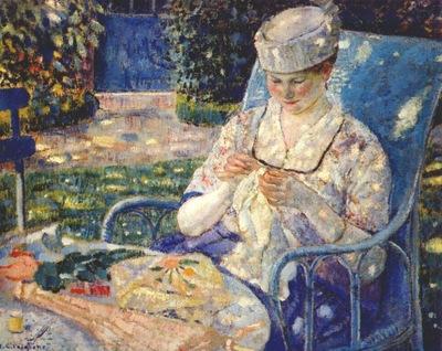 frieseke sewing in the garden c1915