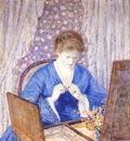 frieseke girl in blue c1917