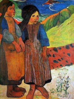 Gauguin Paul Two Breton girls Sun