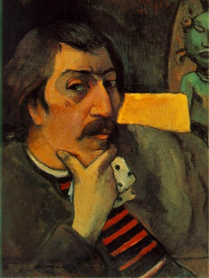 Gauguin Portrait of the artist with an idol, ca 1893, 43 8x3
