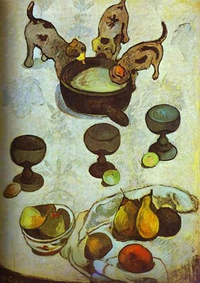 Gauguin Still Life With Three Puppies