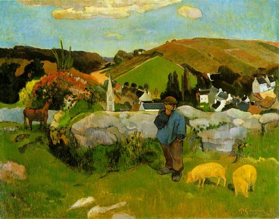 Gauguin The swineherd, Brittany, 1888, 74x93 cm, Los Angeles