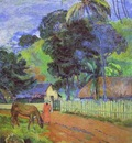Gauguin Horse On Road jpg  Tahitian Landscape