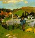 Gauguin The swineherd, Brittany, 1888, 74x93 cm, Los Angeles