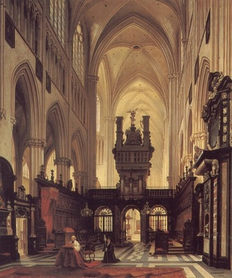 Figures in the Choir of a Cathedral