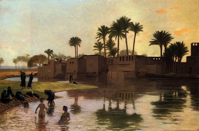 Gerome Jean Leon Bathers by the Edge of a River