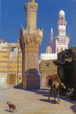 Gerome Jean Leon French 1824 to 1904 Une Journee Chaud Au Caire Devant La Mosquee O C 65 4 by