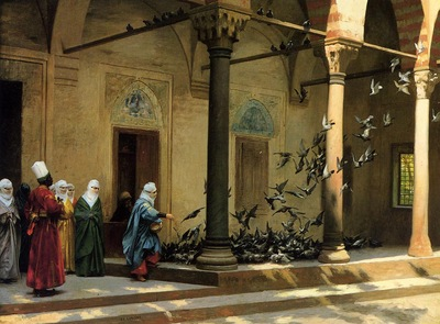 Gerome Jean Leon Harem Women Feeding Pigeons in a Courtyard