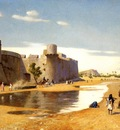Gerome Jean Leon An Arab Caravan outside a Fortified Town Egypt