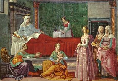 GHIRLANDAIO BIRTH OF ST JOHN, CAPPELLA TORNABUONI, S MARIA N