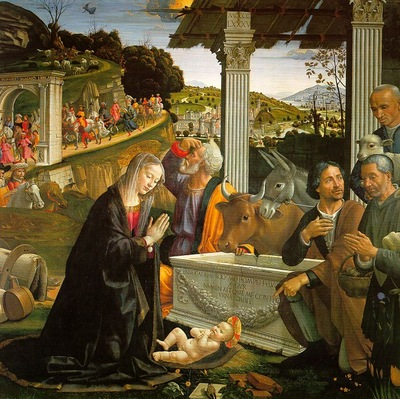 GHIRLANDAIO ADORATION OF THE SHEPHERDS, SANTA TRINITA FIRENZ