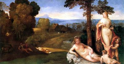 ger Giorgione NymphsAndChildrenInaLandscapeWithShepherds
