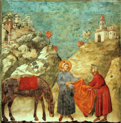 Giotto Legend of St Francis [02] St Francis Giving his Mantle to a Poor Man