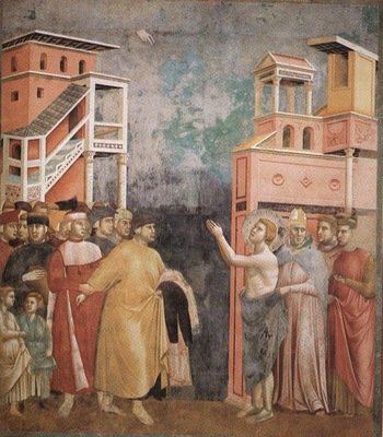 Giotto Legend of St Francis [05] Renunciation of Wordly Goods