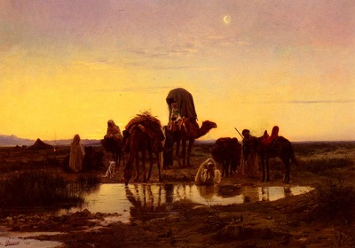Girardet Eugene Alexis Camel Train By An Oasis At Dawn