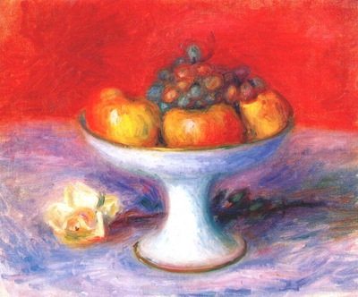 glackens fruit and a white rose c1930s