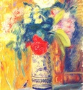 glackens bouquet against yellow wallpaper