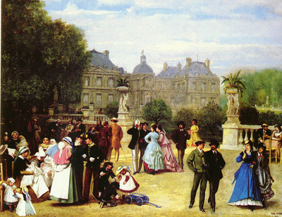 Gluck Louis Theodore Eugene French 1820 1898 In The Luxembourg Gardens, Paris SND 1869 OC 73by9