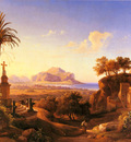 Gmelin Johann Georg Figures Before A Shrine With A View Of Palermo Beyond