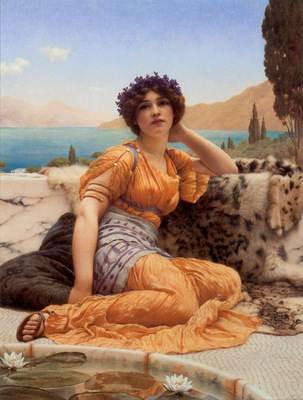 Godward With Violets Wreathed and Robe of Saffron Hue
