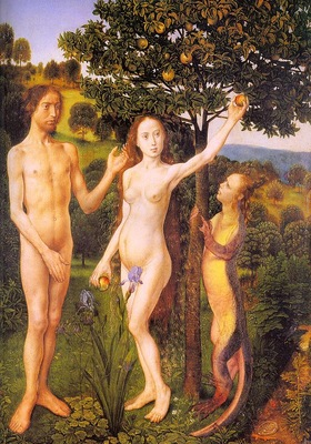 Goes The Fall Adam and Eve Tempted by the Snake, 1470, oil