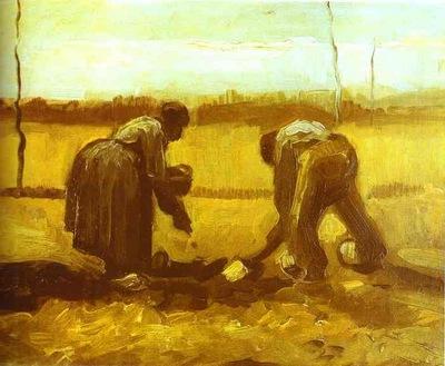 Fermiers plantant des pommes de terre