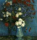 Vase avec bleuets coquelicots