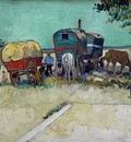 Les roulottes campement de Bohemiens