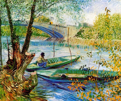 Gogh van Vincent Fisher and boats at Pont de Clichy Sun