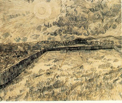 van Gogh Wheat field with sun and cloud, 1889, 47 5x56 cm, R