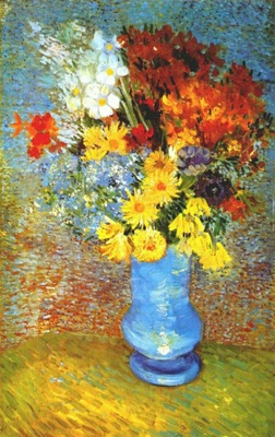 van gogh vase with daisies and anemones
