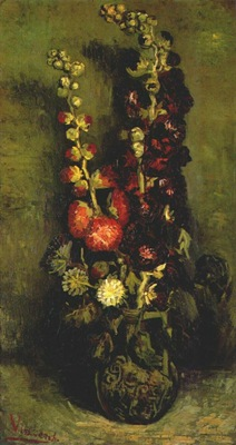 van gogh vase with hollyhocks