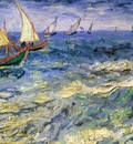 Seascape at Saintes Maries de la Mer, Van Gogh, 1888 1600x