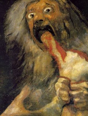 Goya Saturn, ca 1821 23, Detalj, 146x83 cm, Oil on plaster r