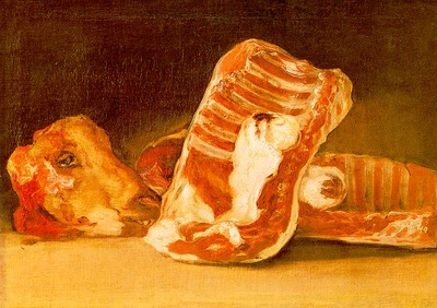 Goya Still Life with Sheeps Head, wood, Musee du Louvre, Pa