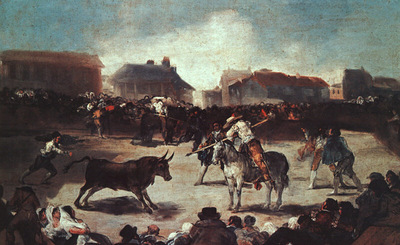 Goya Village Bullfight, 1793, oil on wood, Academy of San Fe