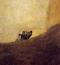 Goya The dog, 1820 23, 134x80 cm, Detalj, Oil on plaster rem