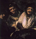 Goya Two Young People Laughing at a Man, 1820 23, 125x66 cm,