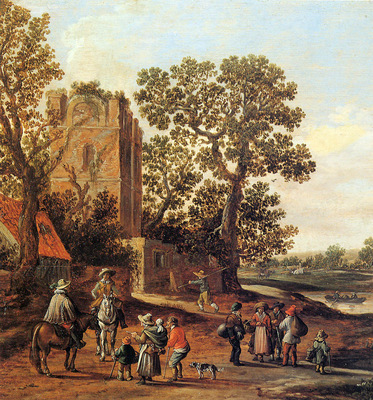 Goyen van Jan Landscape with ruin of a tower Sun