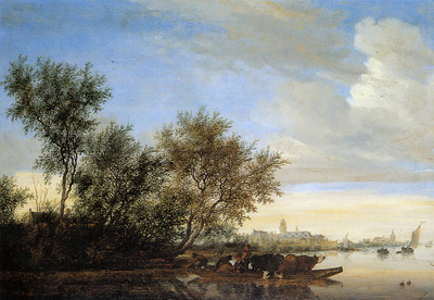 Goyen van Jan River landscape with ferry Sun