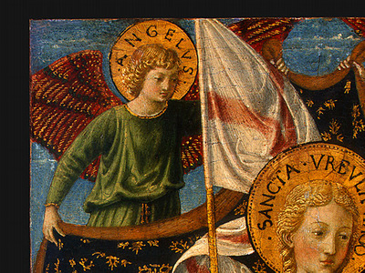 Gozzoli Saint Ursula with Angels and Donor, 1455, 47x28 6 cm