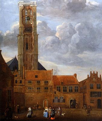 Grasdorp Jan Tower of Grote Kerk in Zwolle Sun