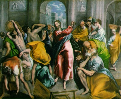 el greco christ driving the traders from the temple 1600,