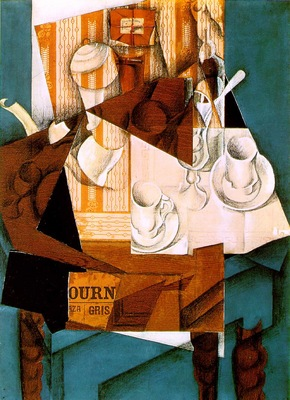 Gris Breakfast, 1914, Papier colle, crayon, and oil on canva